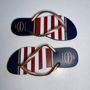HAVAIANAS red white blue flip flops 6